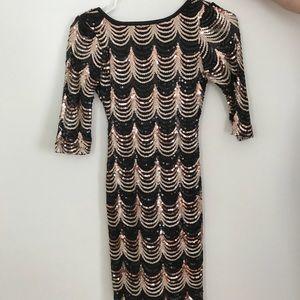 Sparkly bodycon dress.